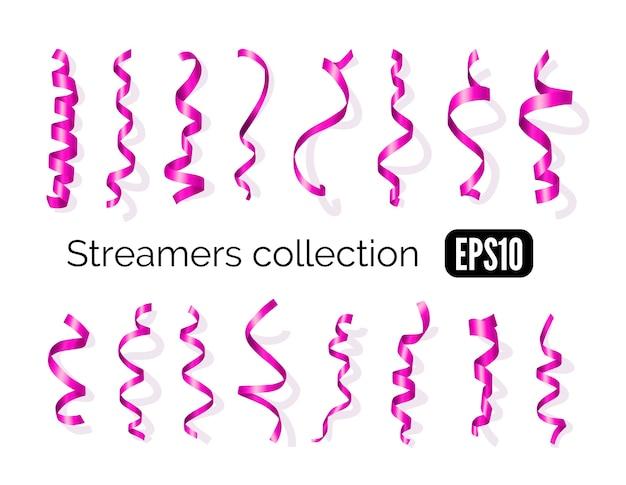 ピンクの装飾ストリーマーと白い背景で隔離のカーリングパーティーリボンの誕生日コレクション