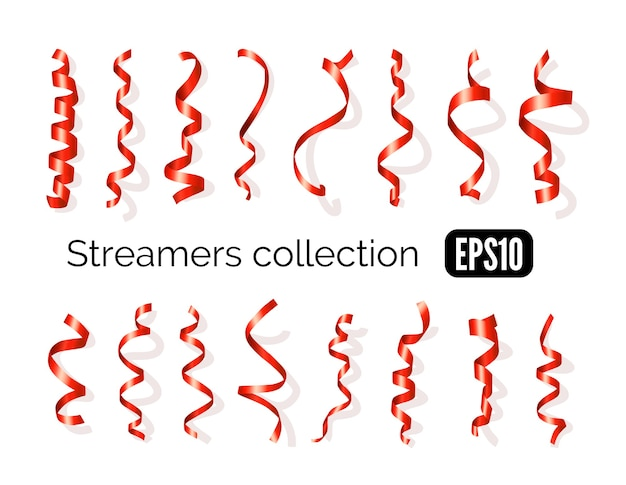 Birthday collection of red decoration streamers and curling party ribbons isolated on white background