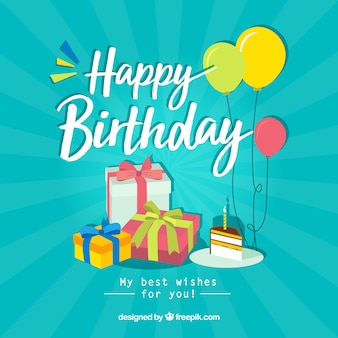 Birthday composition with flat design