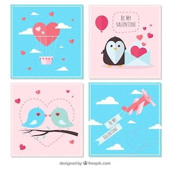 Composizione di compleanno con pinguini felici