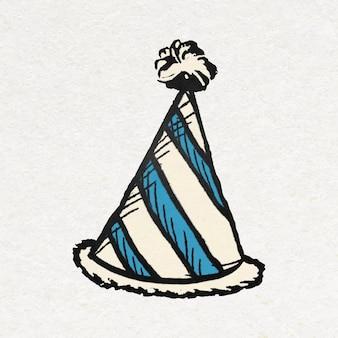 Adesivo per cappello a cono di compleanno in colorato stile vintage Vettore gratuito