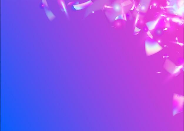 생일 색종이. 네온 텍스처입니다. 디지털 아트. 파티 다채로운 사문석. 보케 효과. 바이올렛 블러 반짝임. 레트로 배너입니다. 플라잉 포일. 보라색 생일 색종이 조각