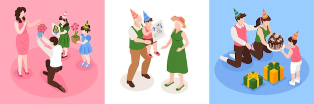 Birthday congratulation card set with children and grandparents