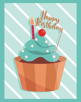 誕生日カップケーキクリームフルーツとレタリングイラスト