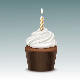 Birthday cupcake with white whipped cream and one candle close up