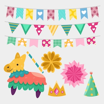 Birthday decoration elements collection