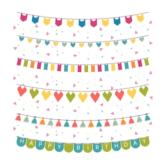 Birthday decoration of garlands and confetti