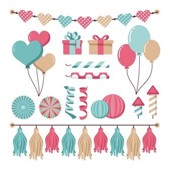 Decorazione di compleanno con palloncini e regali