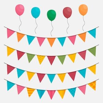 Украшение на день рождения с разноцветными шарами