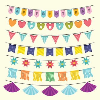 Birthday decoration with colorful garlands