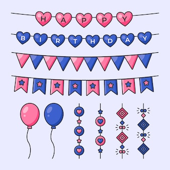 Birthday decoration with garlands and balloons
