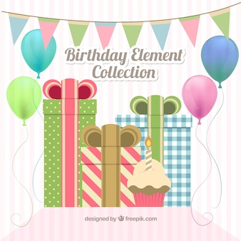 Birthday decoration with gifts