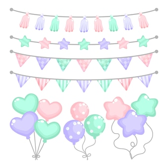 Birthday decoration with heart shaped balloons