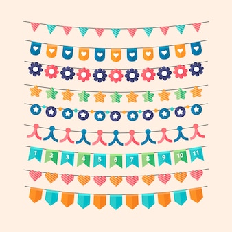 Birthday decoration with multicolored garlands
