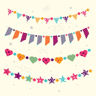 Birthday decoration with party ribbons