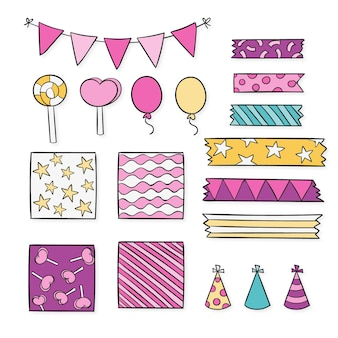 Birthday decorative scrapbook elements pack Free Vector