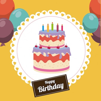 Birthday design over yellow illustration