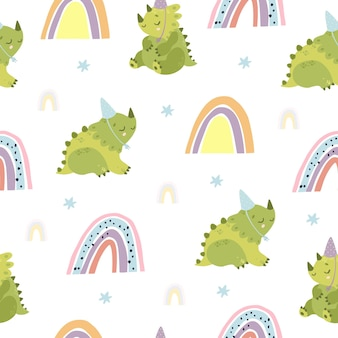 Birthday dinosaurs and rainbow seamless pattern
