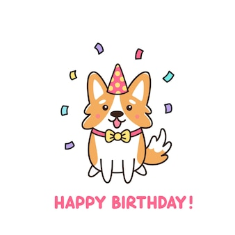Birthday dog of breed welsh corgy in hat and confetti
