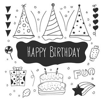 Birthday doodle happy birthday element design