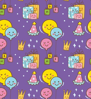 Birthday doodle in kawaii style background