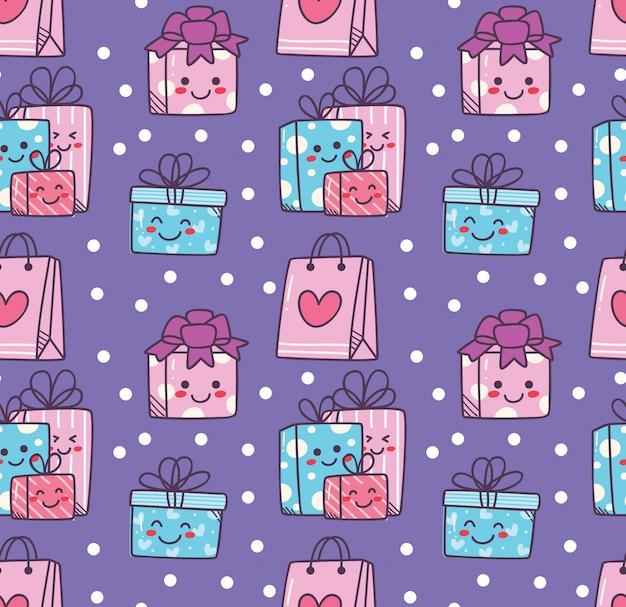 Birthday doodle seamless background