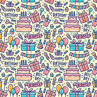 Birthday element set doodle colorful seamless pattern