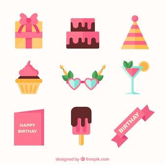 Коллекция элементов дня рождения в плоском стиле