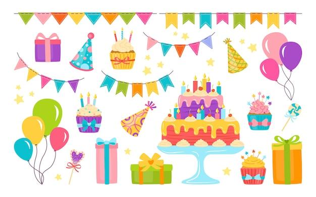 Плоский набор элементов дня рождения. мультяшный торт, свеча, подарочная коробка с кексом. элементы дизайна партии, воздушные шары и сладости. изолированные