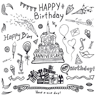 Birthday elements. hand drawn set with birthday cake, balloons, gift and festive attribute