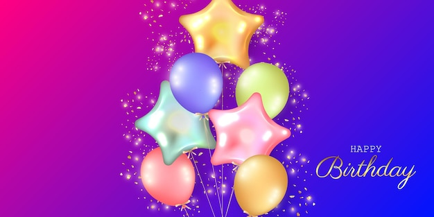 Birthday festive background with helium balloons.