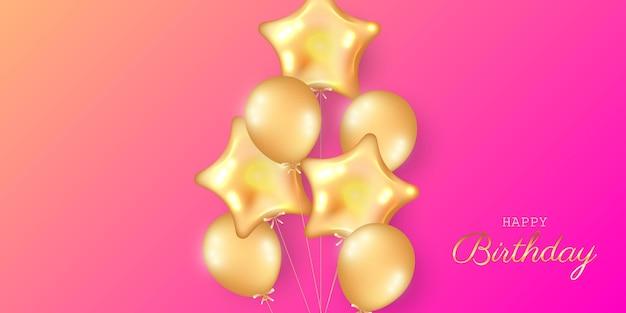 Birthday festive banner with helium balloons.