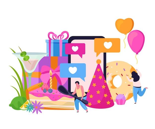 Composizione piatta in compleanno con cappello festivo e ciambella con scatole regalo e illustrazione di personaggi umani