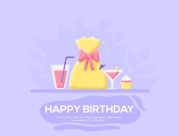 생일 전단지, 잡지, 포스터, 책 표지, 배너. 그레인 텍스처 및 노이즈 효과.
