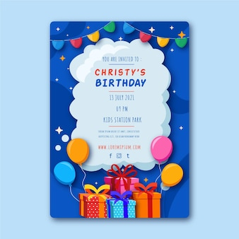 Birthday flyer template with illustrations