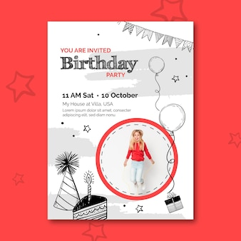 Birthday flyer template with photo
