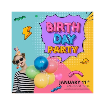 Birthday flyer vertical square