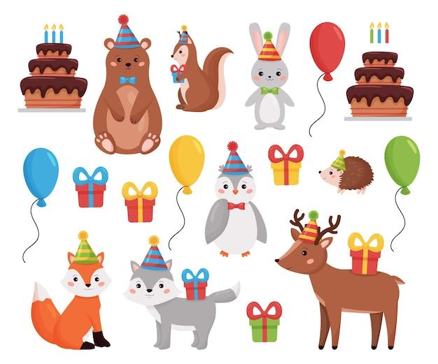 생일 숲 동물 컬렉션. 풍선, 선물, 케이크와 만화 숲 동물.