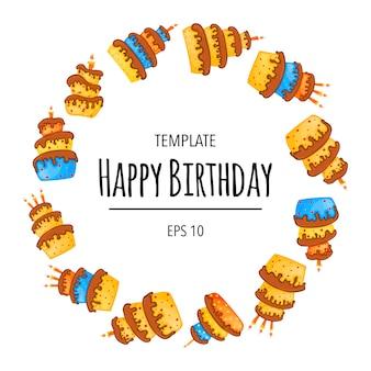 Рамка дня рождения с тортами для праздничной открытки или приглашения. мультяшный стиль. векторная иллюстрация.