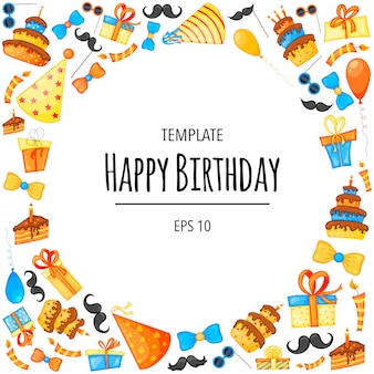 Birthday frame with objects for holiday card or invitation. cartoon style. vector illustration.