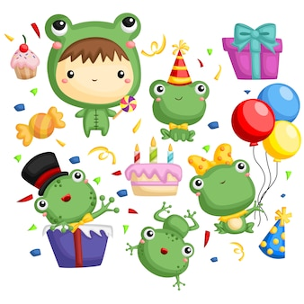 Birthday frog vector set