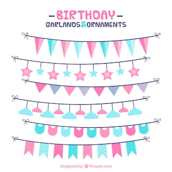 Birthday garlands in blue and pink tones