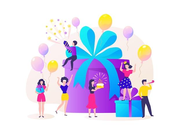Подарочная коробка на день рождения. счастливые персонажи мультфильмов празднуют вечеринку и танцуют в подарок на день рождения. векторный концепт-сюрприз друзей повеселиться