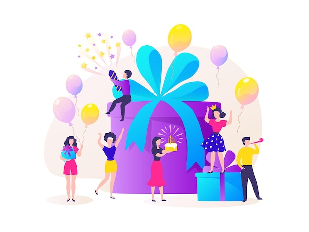 Birthday gift box. cartoon happy characters celebrating party and dancing at birthday present. vector concept surprise of friends have fun