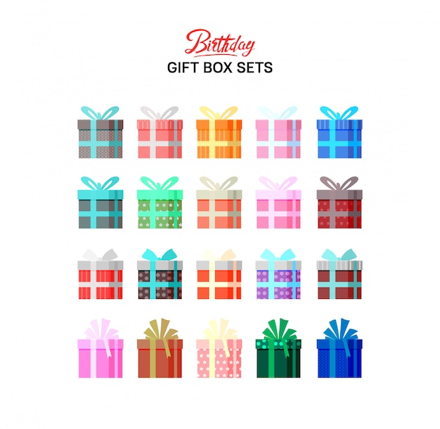 Birthday gift box sets colorful illustration