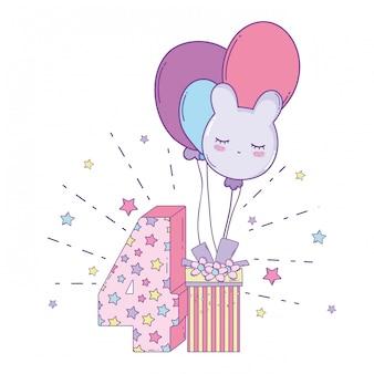 풍선 및 숫자와 함께 생일 선물 상자