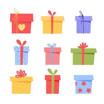 Подарочные коробки на день рождения в плоском мультяшном стиле