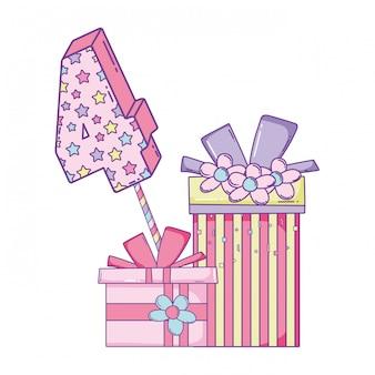 숫자가있는 생일 선물 상자