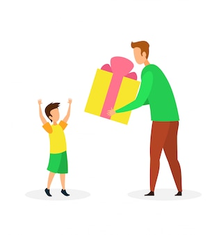Birthday gift to son flat vector illustration
