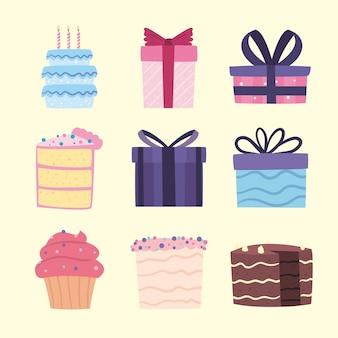 誕生日プレゼントやケーキのアイコン